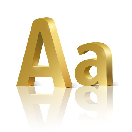 orthographic: Letter A of golden design alphabet