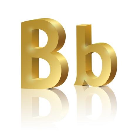 orthographic: Letter B of golden design alphabet