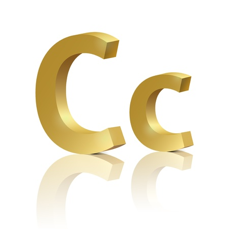 3d letters: Letter C of golden design alphabet