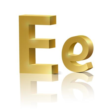 learn english: Letter E of golden design alphabet
