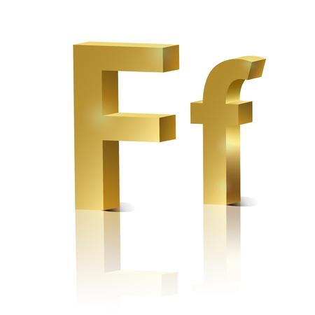 orthographic symbol: Letter F of golden design alphabet
