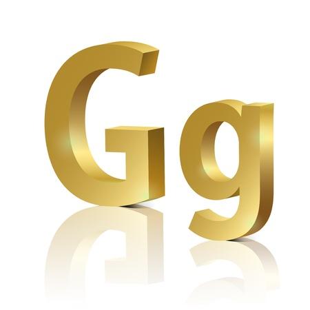 orthographic: Letter G of golden design alphabet Illustration