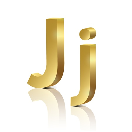 Letter J of golden design alphabet Vector