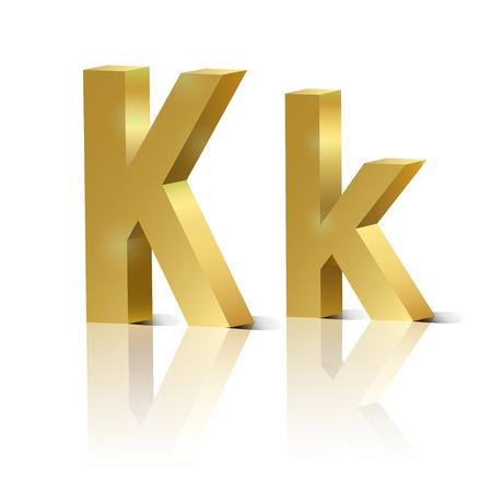 orthographic: Letter K of golden design alphabet