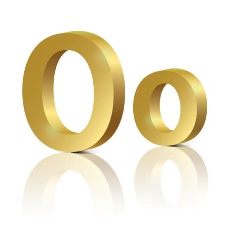 orthographic symbol: Letter O of golden design alphabet