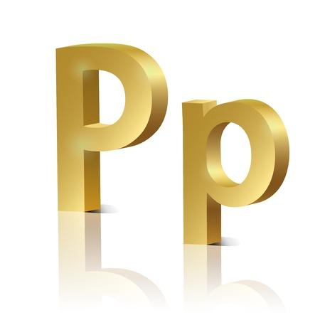 orthographic: Letter P of golden design alphabet