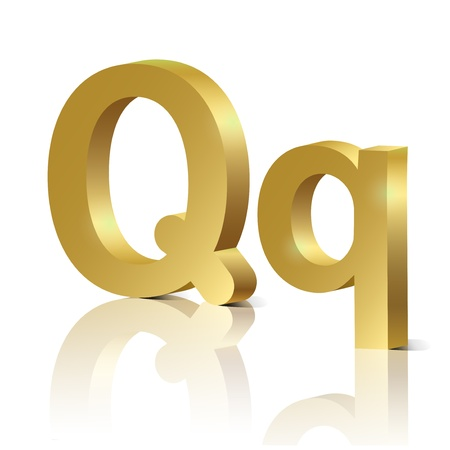 orthographic: Letter Q of golden design alphabet