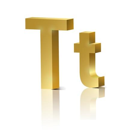 letras cromadas: Letra T del alfabeto diseño de oro