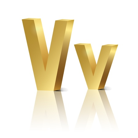 orthographic: Letter V of golden design alphabet