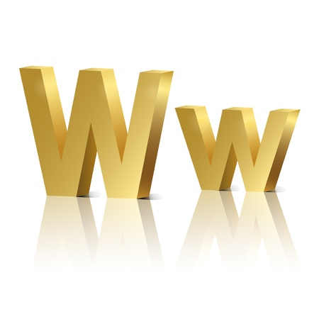 orthographic: Letter W of golden design alphabet