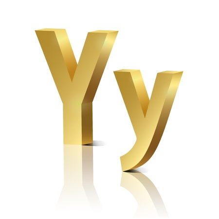 orthographic: Letter Y of golden design alphabet
