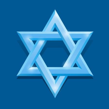 stella di davide: Bianco stella di David su sfondo blu
