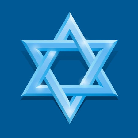 hebrew script: White David star on the blue background