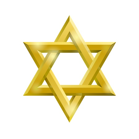 jewish star: Golden David star on the white background Illustration