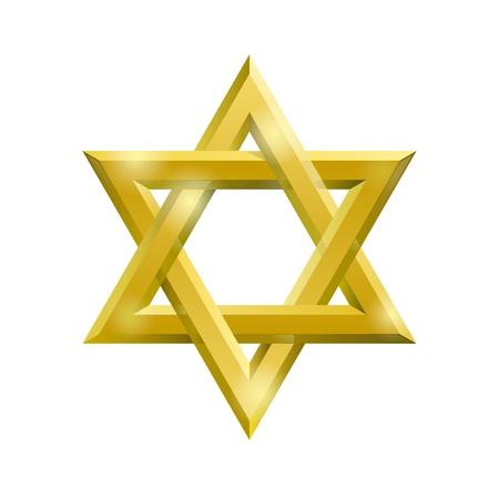 etoile juive: Or �toile de David sur le fond blanc Illustration