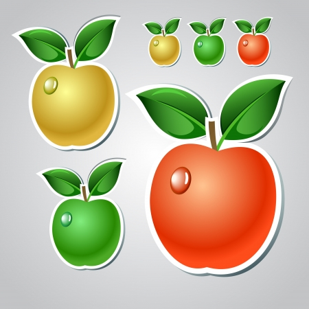 yellow apple: Red, green and yellow apple stickers collection