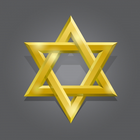 jewish star: Golden David star Illustration