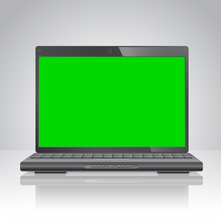 powerbook: Laptop computer with green screen, removable chroma key