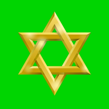 zion:  Golden David star on the  green screen, removable chroma key  background