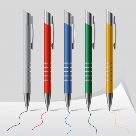 writing instrument: Set of vector pens in different colors
