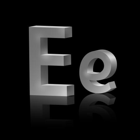 orthographic symbol: Vector letter E of metallic design alphabet