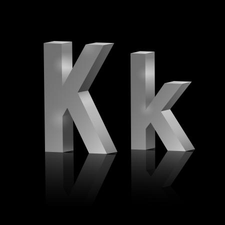 fonts 3d: Vector letter K of metallic design alphabet