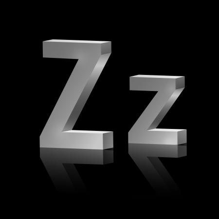orthographic symbol: Vector letter Z of metallic design alphabet