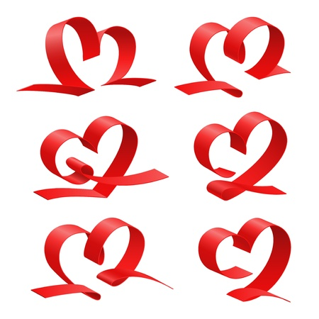 Heart from red ribbon set, love simbol  Vector