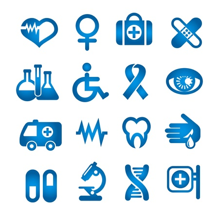 Medical icons set, blue color, isolated on white  Vector