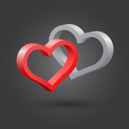 Abstract hearts, red and platinum  Vector
