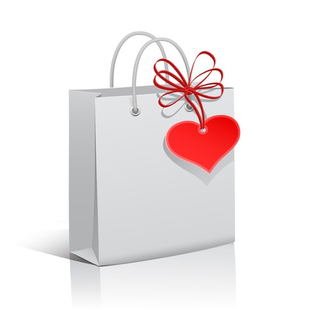 Shopping white paper bag with heart tag and red ribbon,  illustration