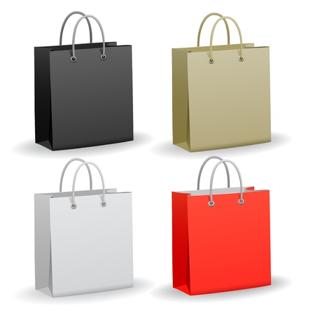 red retail: Set of empty paper shopping bag