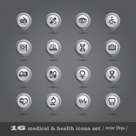 Medical icons set, internet buttons Stock Vector - 16840479
