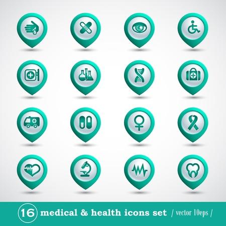 botiquin de primeros auxilios: Iconos Conjunto médico, botones de internet