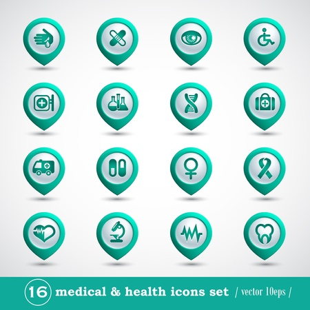 Medical icons set, internet buttons  Stock Vector - 16840481