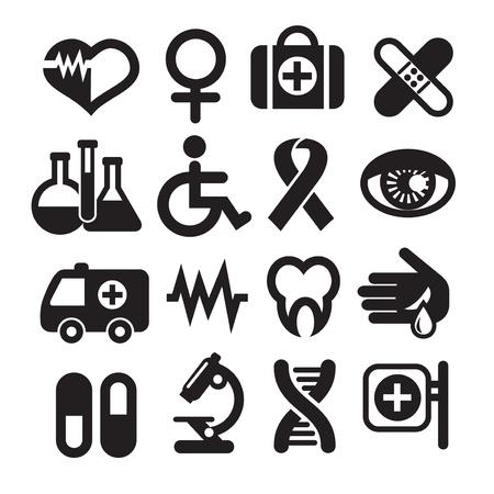 ambulancia: Conjunto de iconos médicos, básicos, aislados en blanco