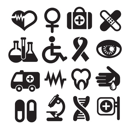 medical computer: Set of medical icons, basics, isolated on white