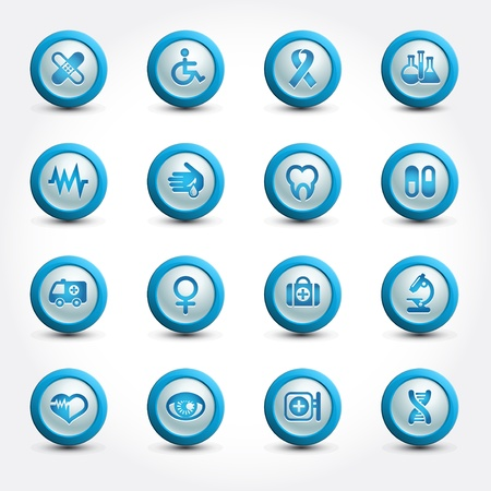 Medical icons set, internet buttons Stock Vector - 17192941