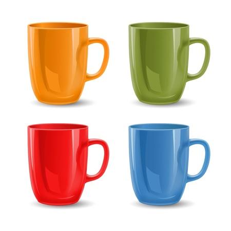 Set of colored mugs illustration