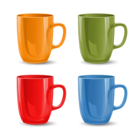 coffee cup isolated: Set of colored mugs illustration