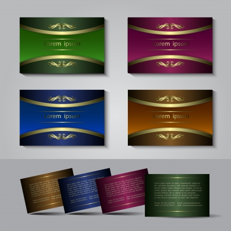 Business card template  with golden elements in four colors, vector illustration Vector