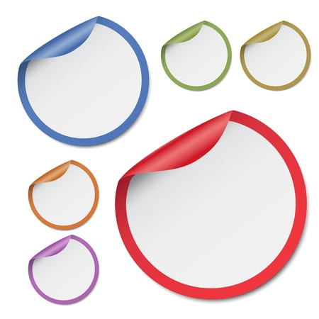 designer labels: Colorful round stickers, illustration Illustration