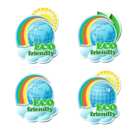 Set of vector environmental stickers, isolated on white Stock Vector - 17582405