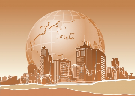 Eco banner with earth end modern city  Vector