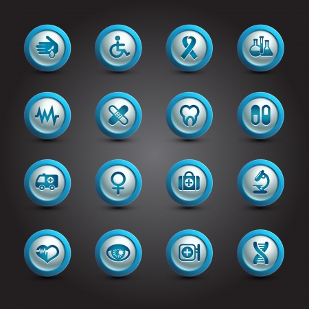Medical icons set, internet buttons Vector