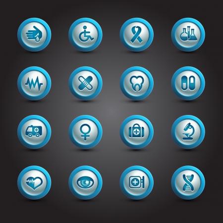 Medical icons set, internet buttons Illustration