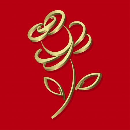 Golden rose in abstract stile on the red background, vector illustration Çizim