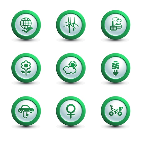 Set of ecology icons, round shape, vector illustration Vector