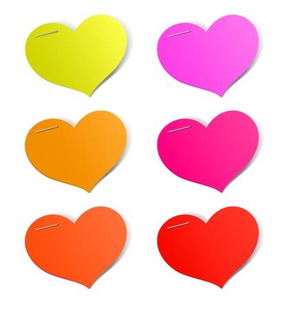 Heart shape stickers set, vector illustration Stock Vector - 17777148