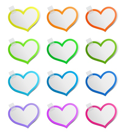 Heart shape stickers set, vector illustration Stock Vector - 17777159